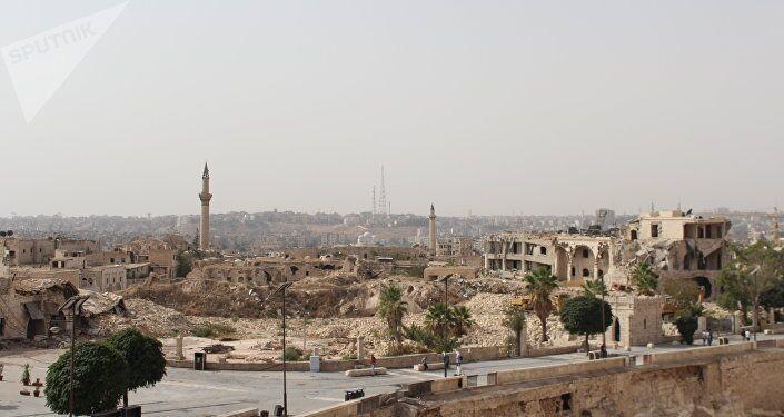 Zona de Alepo devastada por la guerra