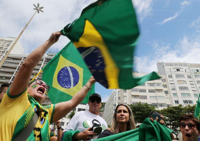 Segidores del ultraderechista Jair Bolsonaro