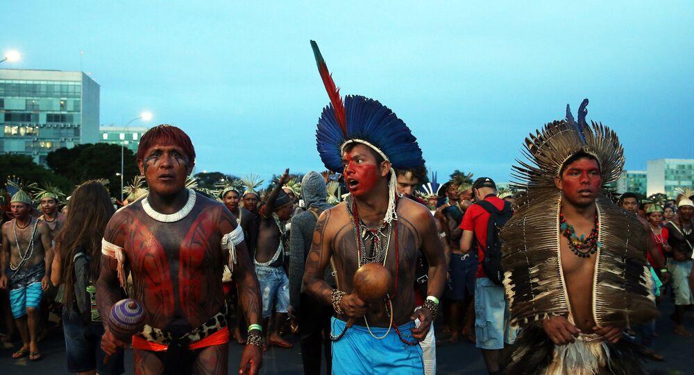 Una manifestación indígena en Brasilia, en 2017