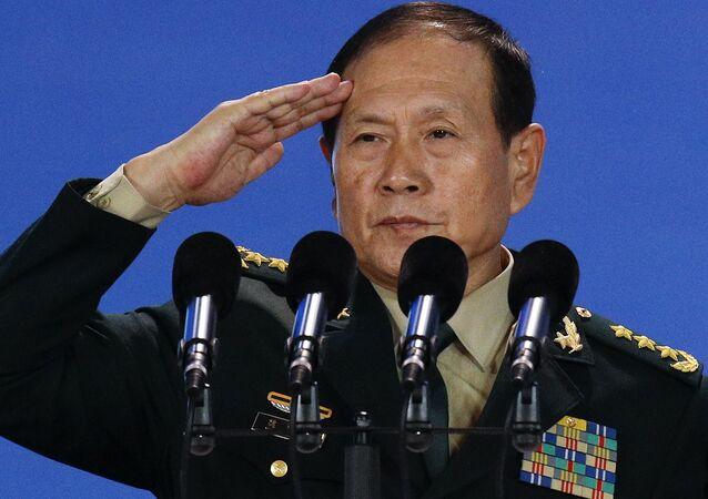 Wei Fenghe, ministro de Defensa chino, en la ceremonia de la inauguración del Foro Xiangshan en Pekín