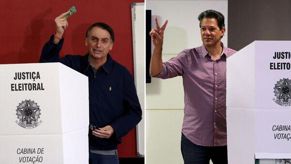 Jair Bolsonaro (izda.) y Fernando Haddad (dcha.), los candidatos a la presidencia de Brasil - Sputnik Mundo