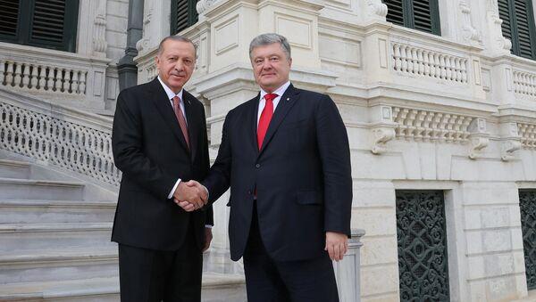 Recep Tayyip Erdogan, presidente turco, y su homólogo ucraniano, Petró Poroshenko - Sputnik Mundo