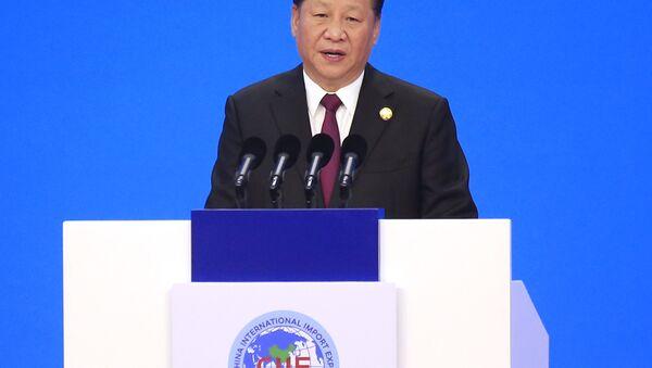 El presidente chino, Xi Jinping, ofrece un discurso inaugural durante la ceremonia inaugural de la primera Exposición Internacional de Importaciones de China en Shanghái, el 5 de noviembre de 2018 - Sputnik Mundo