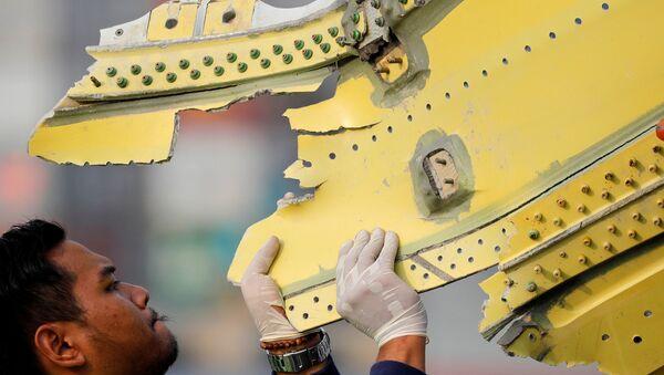 Fragmento del avión de la compañía Lion Air siniestrado en Indonesia - Sputnik Mundo