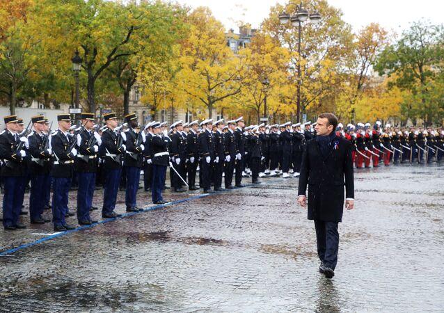 El presidente de Francia, Emmanuel Macron, durante la conmemoración del centenario fin de la Primera Guerra Mundial