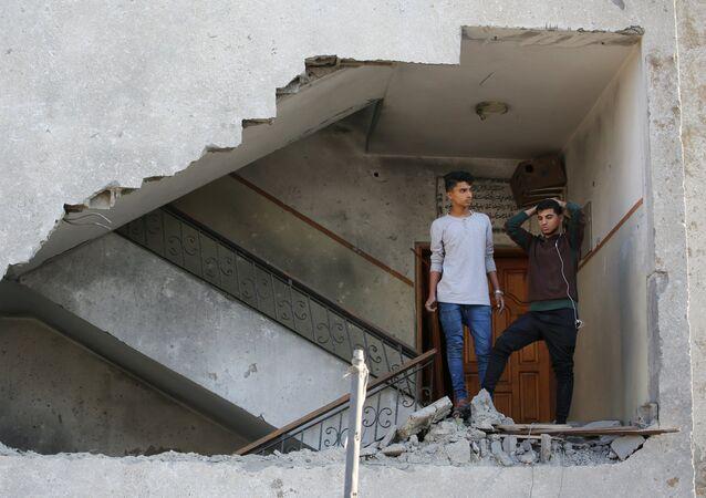 Un edificio destruido en Gaza