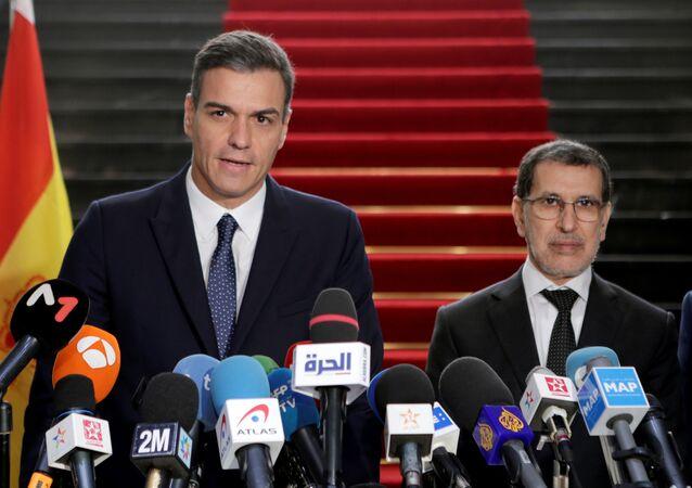 El presidente del Gobierno español, Pedro Sánchez, y su homólogo marroquí, Saadeddine el-Othmani