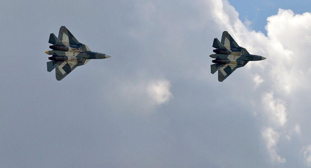 Cazas de la quinta generación Su-57, foto archivo