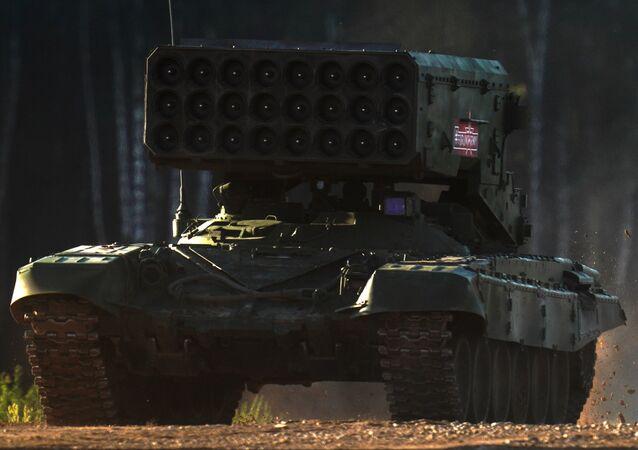 Lanzallamas pesado ruso TOS-1A Solntsepiok, foto archivo
