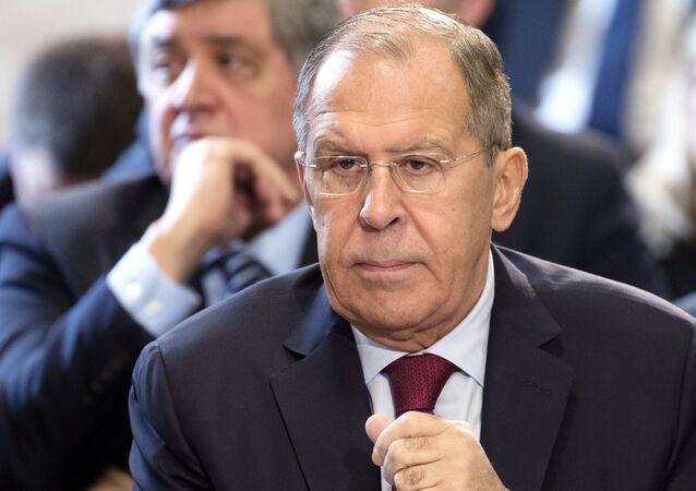 El ministro de Asuntos Exteriores ruso, Serguéi Lavrov, en Ginebra