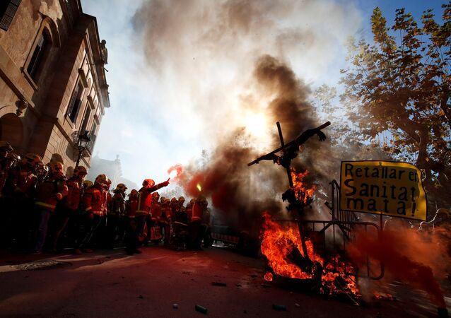 Las protestas frente al parlamento catalán