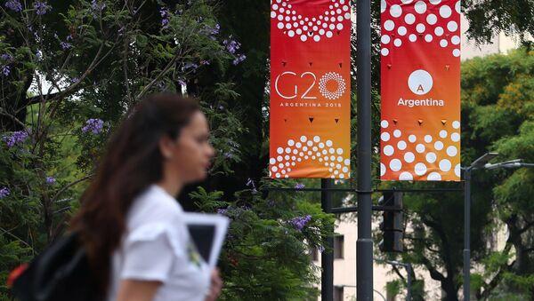 El logo del G20 en Argentina - Sputnik Mundo