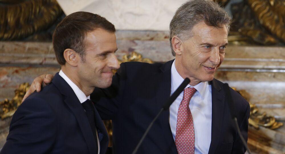 Presidente de Francia, Emmanuel Macron, y presidente de Argentina, Mauricio Macri