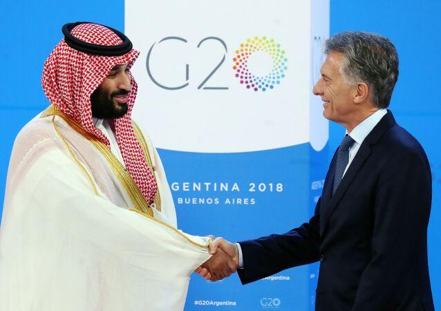 El príncipe heredero de Arabia Saudí, Mohammed bin Salman, y Mauricio Macri, presidente de Argentina, en la cumbre de G20 en Buenos Aires