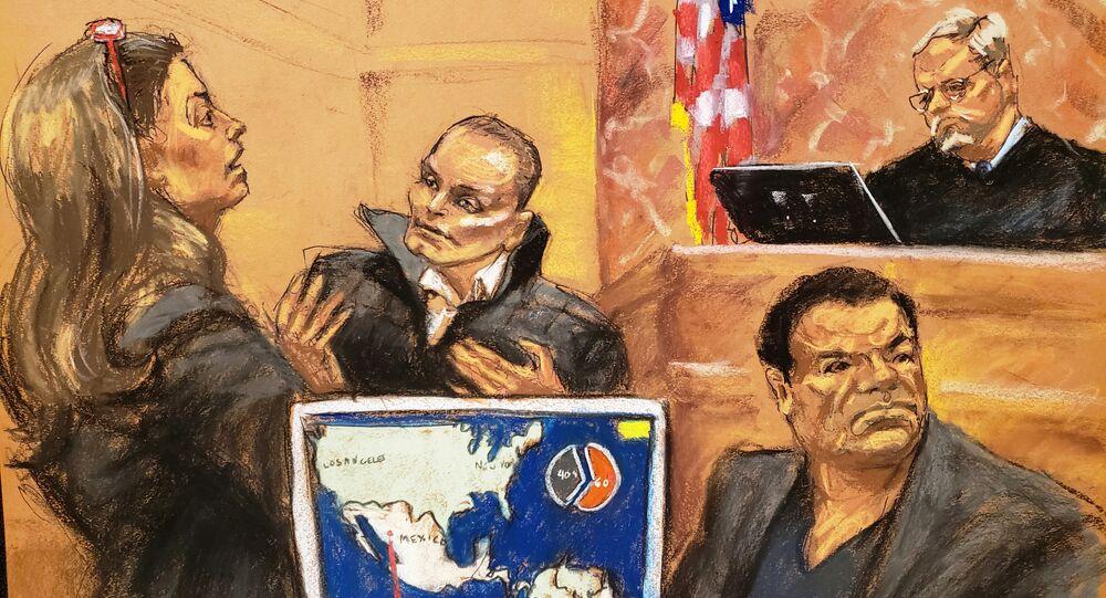 Juan Carlos Ramírez Abadía y Joaquín El Chapo Guzmán en la Corte Federal de Brooklyn
