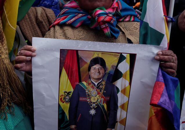 Una partidaria de Evo Morales, presidente de Bolivia