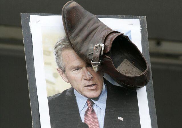 Una protesta contra George W. Bush, expresidente de EEUU (archivo)