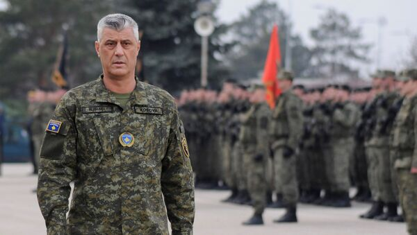 Hashim Thaci, el presidente kosovar, en una ceremonia de las Fuerzas de Seguridad de Kosovo - Sputnik Mundo