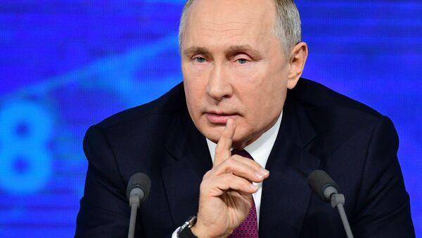 El presidente de Rusia, Vladímir Putin, durante la gran rueda de prensa anualn - Sputnik Mundo