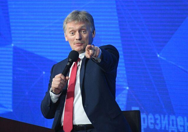 El portavoz del Kremlin, Dmitri Peskov, durante la rueda de prensa de Vladímir Putin