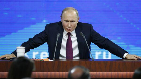 El presidente de Rusia, Vladímir Putin, durante la gran rueda de prensa anual - Sputnik Mundo