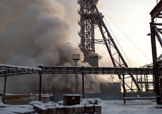 Incendio en una mina en Solikamsk