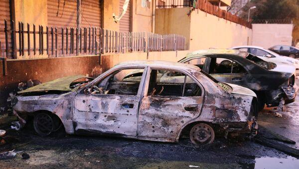 El lugar del atentado suicida en Libia - Sputnik Mundo