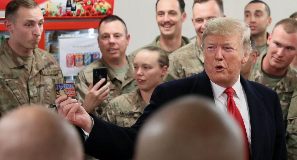 El presidente de EEUU, Donald Trump, en la base aérea Al Asad en Irak