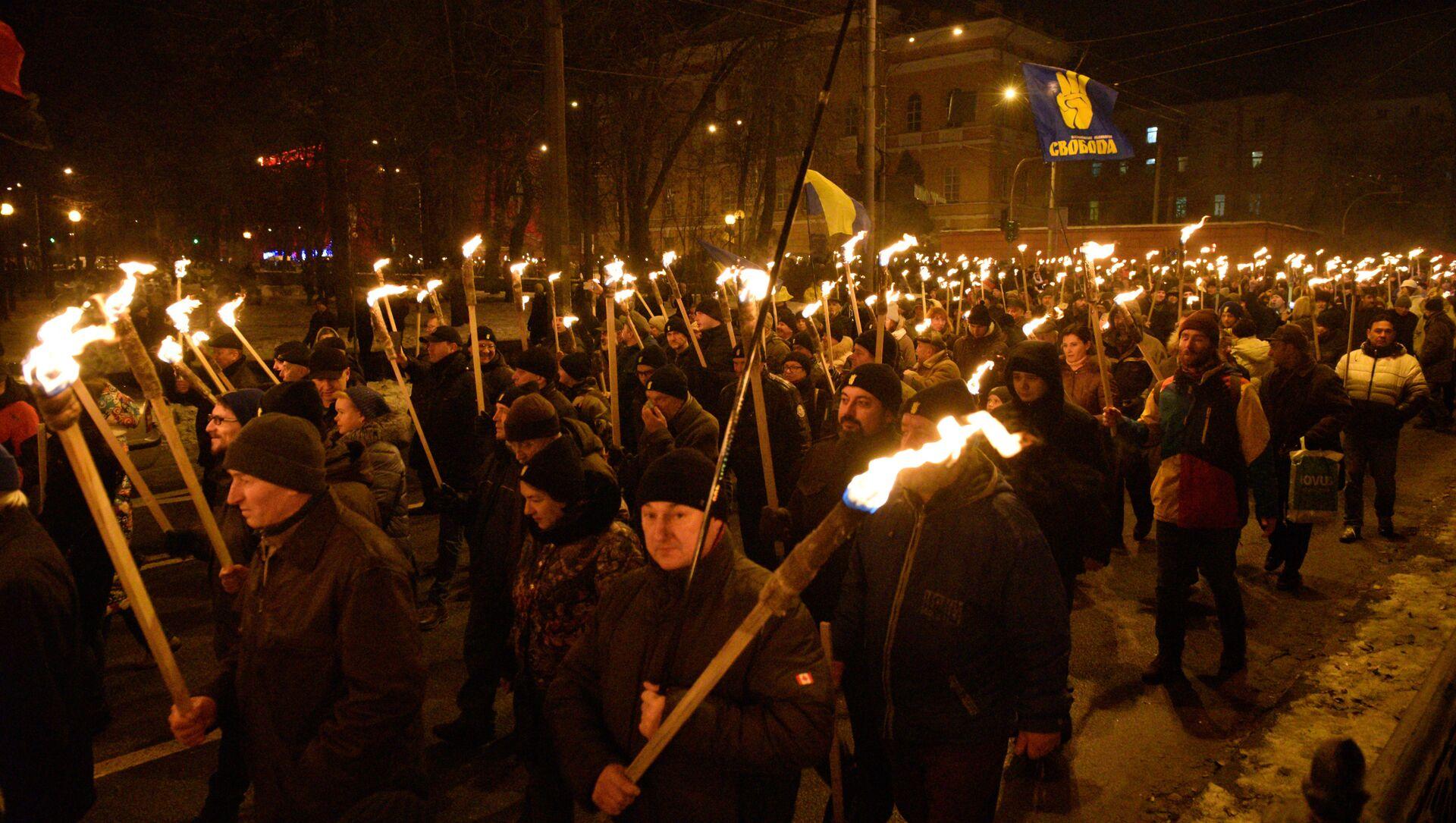 La marcha con motivo del 110 aniversario del nacimiento del nacionalista ucraniano Stepán Bandera - Sputnik Mundo, 1920, 28.01.2021