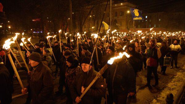 La marcha con motivo del 110 aniversario del nacimiento del nacionalista ucraniano Stepán Bandera - Sputnik Mundo