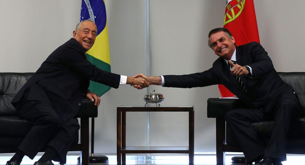 Marcelo Rebelo de Sousa, presidente de Portugal, y Jair Bolsonaro, presidente de Brasil