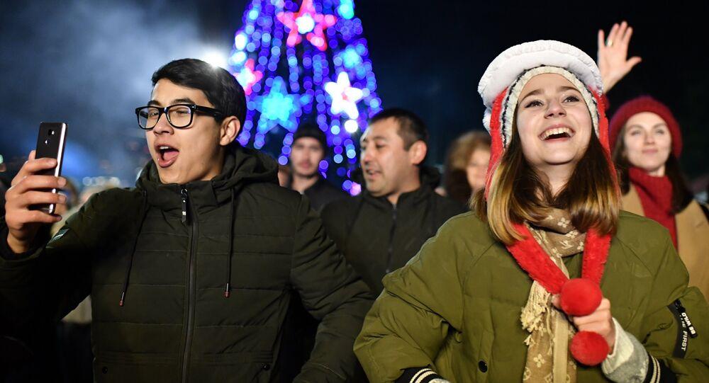 Vísperas del Año Nuevo en Moscú (Rusia), el 31 de diciembre de 2018