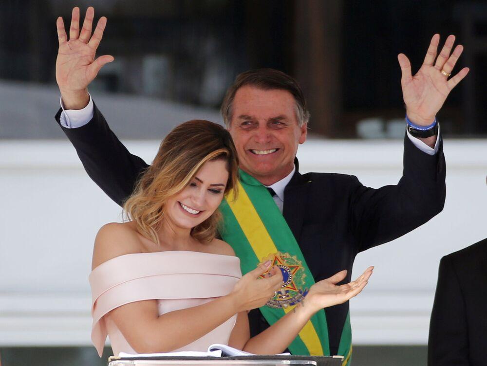 Jair y Michelle Bolsonaro durante la ceremonia de investidura presidencial