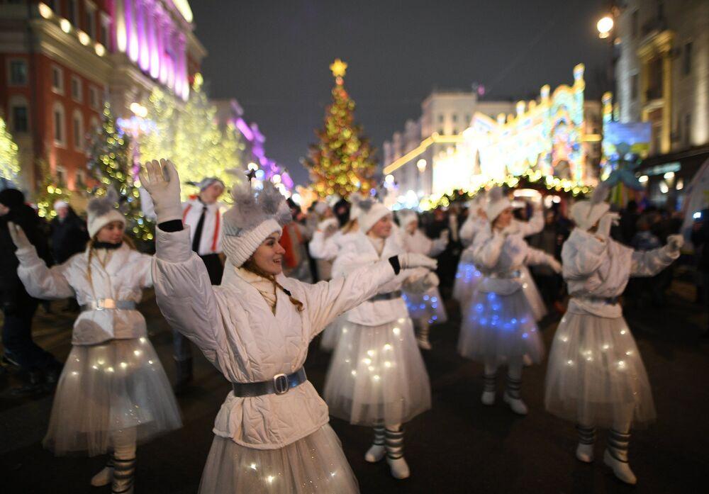 La celebración de Año Nuevo en las calles de Moscú