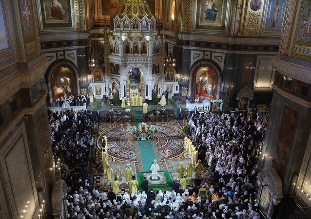 La misa ortodoxa de la Nochebuena en la catedral de Cristo Salvador de Moscú