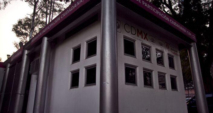 Módulo de participación ciudadana COY-53 donde el policía I. Vega R. detuvo a Omar Zavala el 10 de diciembre para entregarlo a la vigilancia universitaria