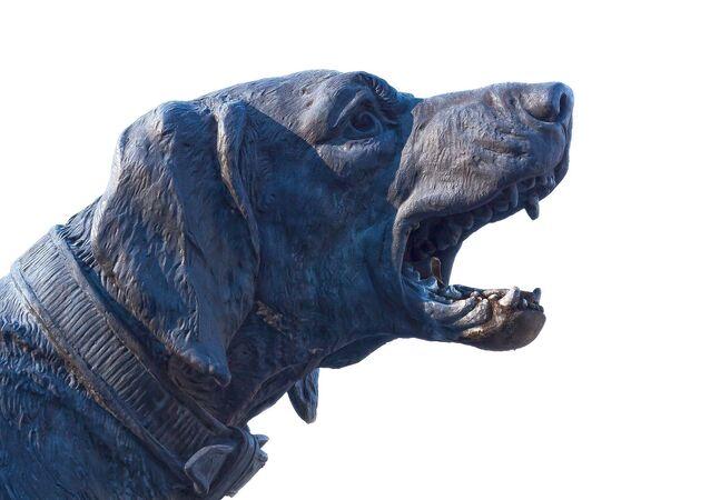Una estatua de perro