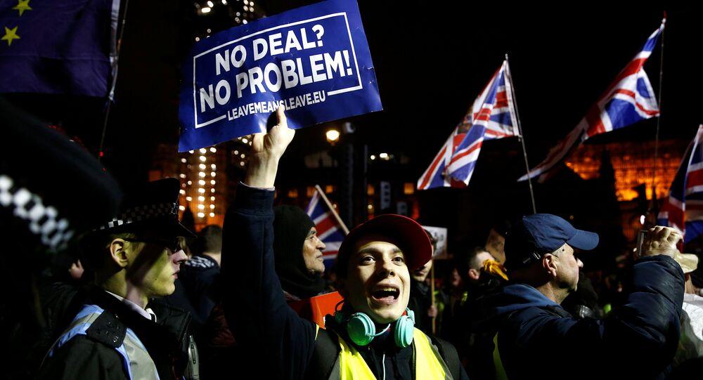 Ciudadanos pro y anti-Brexit protestan ante el Parlamento del Reino Unido