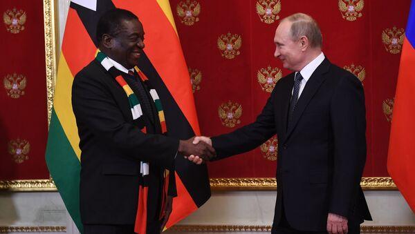 Presidente de Zimbabue, Emmerson Mnangagwa, y su homólogo ruso, Vladímir Putin - Sputnik Mundo