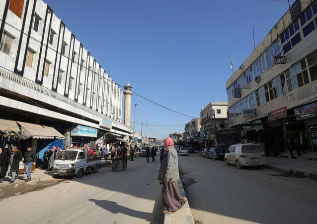 Una calle de Manbij, Siria, imagen referencial