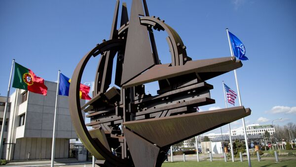 El símbolo de la OTAN y las banderas de Estados que forman parte del bloque militar.  - Sputnik Mundo