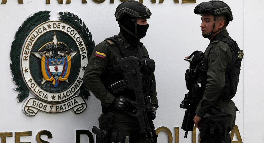 La Policía de Bogotá en el lugar del atentado