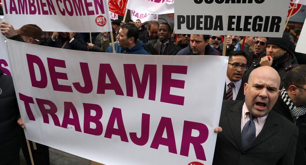 Protestas de los taxistas españoles en Madrid, España