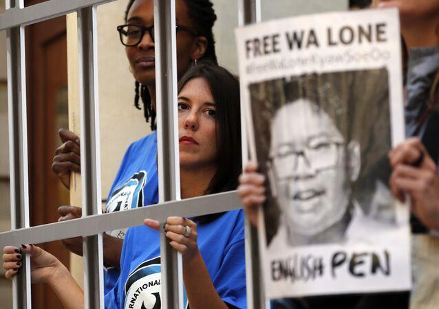 Manifestación en apoyo a los periodistas de Reuters detenidos en Birmania (archivo)