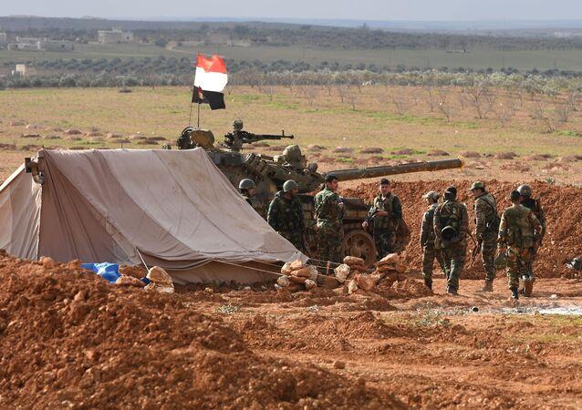 Los militares sirios en Manbij (archivo)