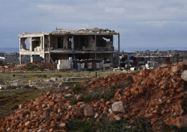 Edificio destruido en Alepo, Siria