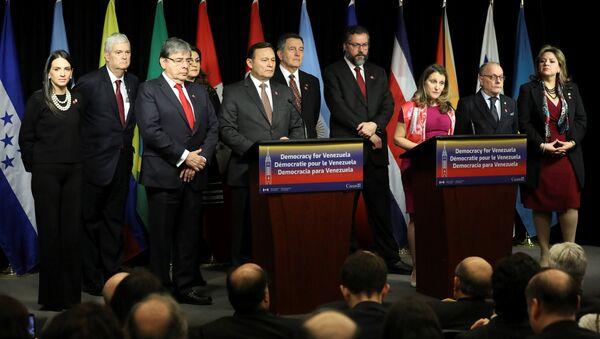 La ministra de Exteriores canadiense, Chrystia Freeland, interviene en la reunión del Grupo de Lima desde Ottawa - Sputnik Mundo