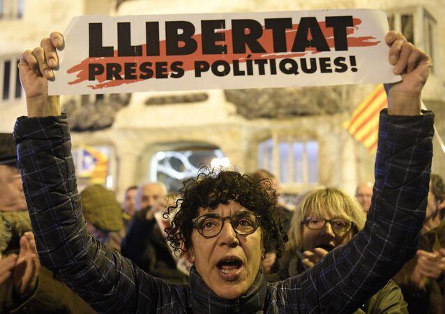 Protestas en apoyo a los líderes separatistas catalanes