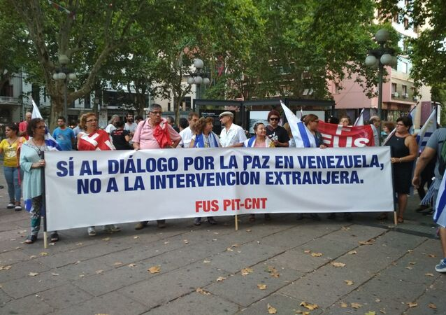 Manifestación Diálogo por la paz para Venezuela, convocada por el Pit-Cnt, el Encuentro Sindical Nuestra América y la Jornada Continental en Defensa de la Democracia y Contra el Neoliberalismo