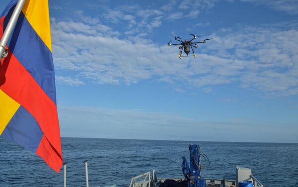 Vuelo del dron que se utilizó para la colocación del cebo para la erradicación de roedores en la isla Seymour Norte - Sputnik Mundo